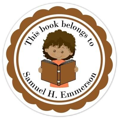 Book Belongs to Stickers - Brown Hair (Boy)