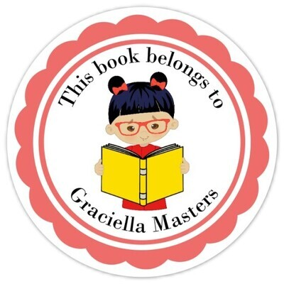 Book Belongs to Stickers - Black Hair with Glasses (Girl)