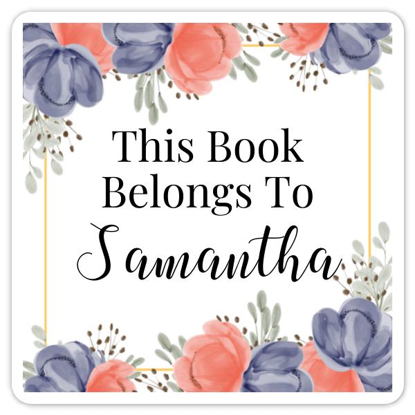 Book Belongs to Stickers - Square Peony Design