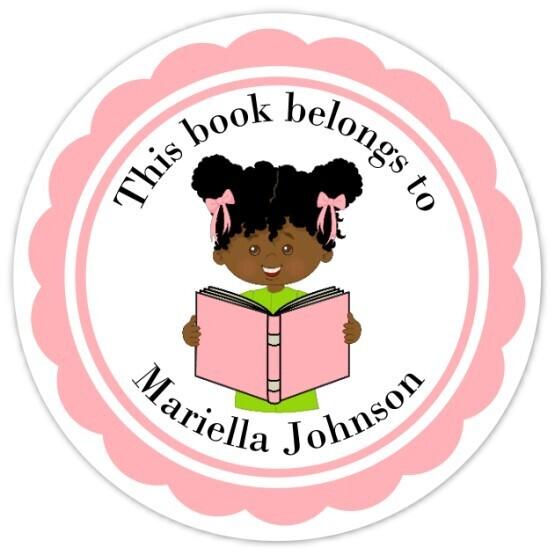 Book Belongs to Stickers - Black Hair