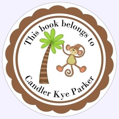 Book Belongs to Stickers - Monkey in Tree