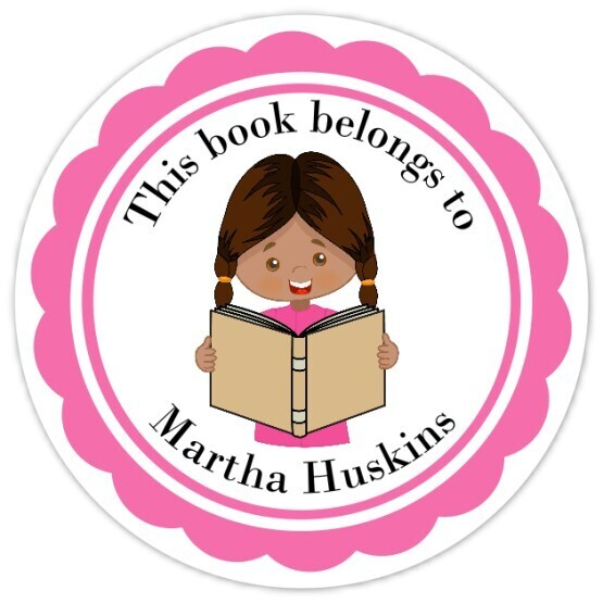 Book Belongs to Stickers - Brown Hair with Braids
