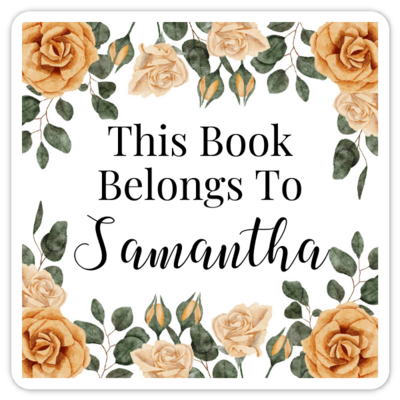 Book Belongs to Stickers - Square Yellow Floral Design