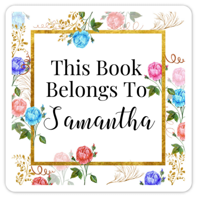 Book Belongs to Stickers - Square Watercolor Floral Design