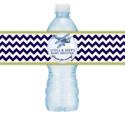 Airplane Baby Shower Water Bottle Labels