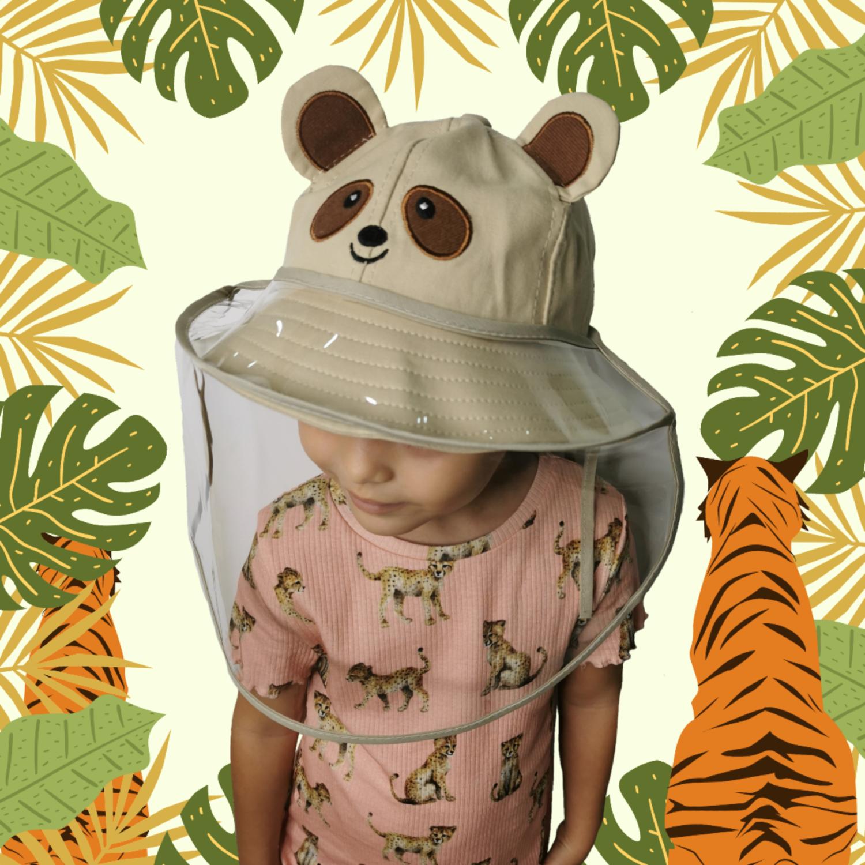 Sombrero Protector Osito Khaki con Careta Removible (Algodón)