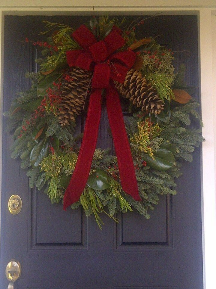"""Decorated Wreath - 24"""" Noble Fir Mixed Fancy Wreath with Red Bow"""