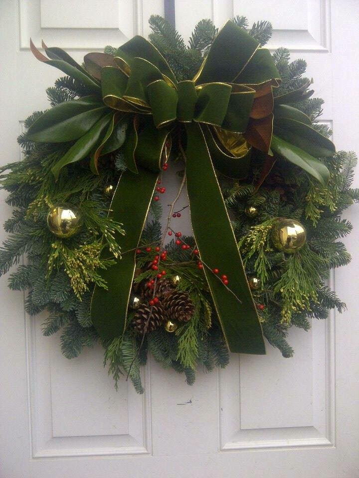 """Decorated Wreath - 12"""" Noble Fir Wreath Dark Green and Gold Ribbon"""