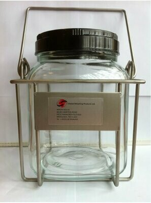LARGE SAMPLE JAR C/W WIRE CAGE