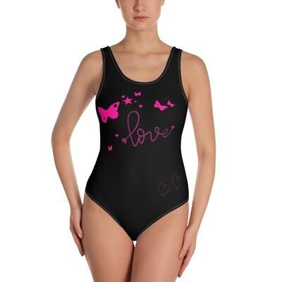 Naisten uimapuku - pinkki perhonen