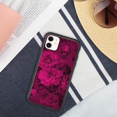 Biohajoava iPhone suojakuori - Tummanpunaiset kukat