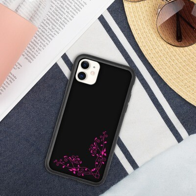 Biohajoava iPhone suojakuori - Pinkki köynnös