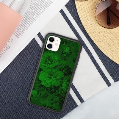 Biohajoava iPhone suojakuori - Tummanvihreät kukat