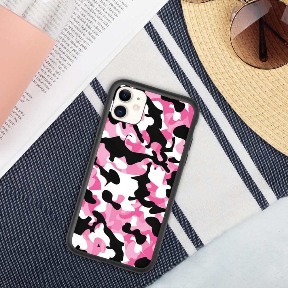 Biohajoava iPhone suojakuori - Pinkki camouflage