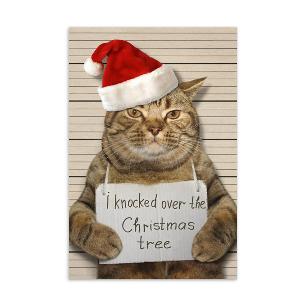 Joulukortti - Kissa kuusen kaadossa