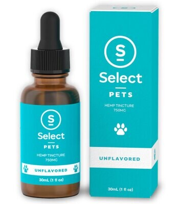 Select CBD Oil Drops for Pets - Unflavored 750 MG