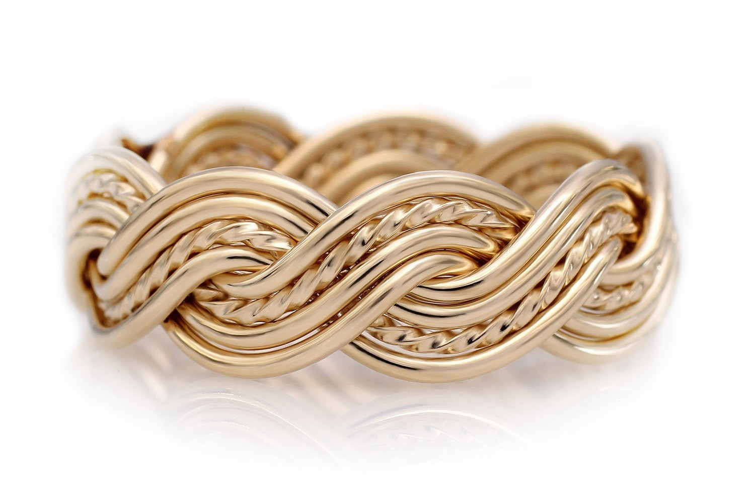 Eight Strand Closed Weave Ring (8.5mm Width Pictured)