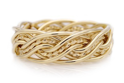Eight Strand Double Weave Ring (7mm Width Pictured)