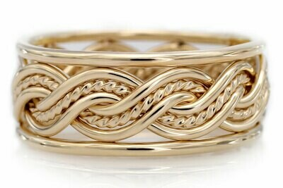 Six Strand Closed Weave Ring with Outer Bands (8mm Width Pictured)