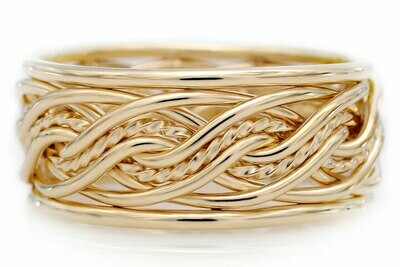 Eight Strand Double Weave Ring with Outer Bands (7.5mm Width Pictured)