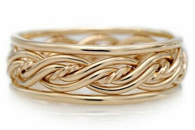 Five Strand Twist Weave Ring with Outer Bands (7.5mm Width Pictured)