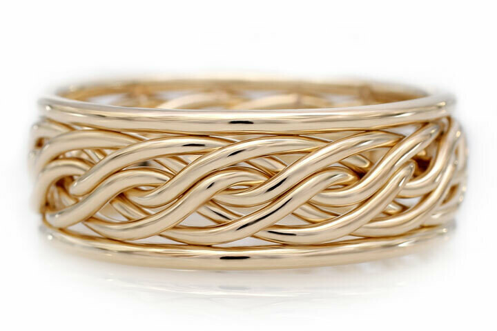 Six Strand Open Weave Ring with Outer Bands (8mm Width Pictured)