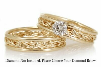 Matching Cord of Three Engagement Ring Set (Two Rings Included)