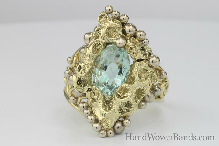 Aquamarine Uniquely Set in Coral and our Swirl  Ring