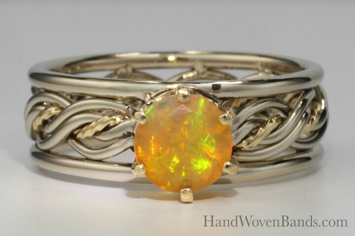 Brilliant Fire Opal Prong Set in a Five Strand Braided Ring