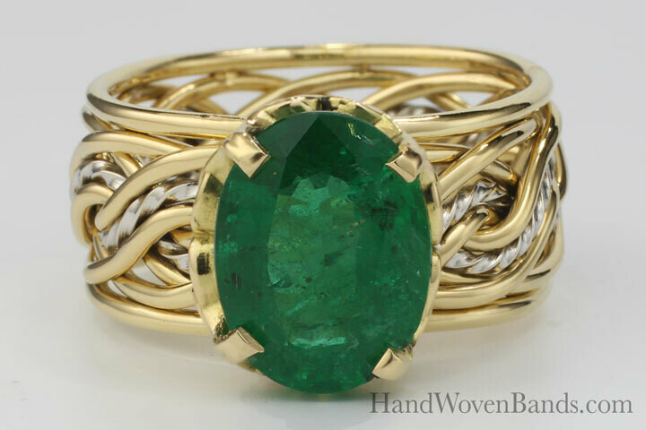 Emerald Two Tone Ring Braided with our Eight Strand Double Weave