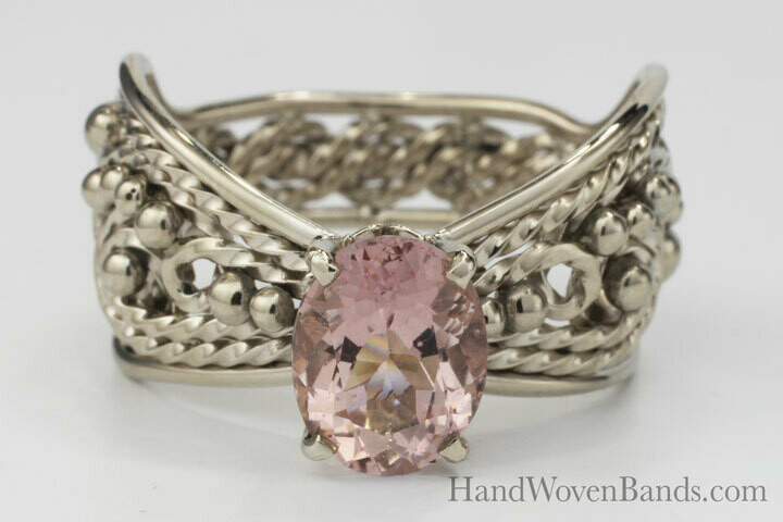 White Gold Butterfly Morganite Ring