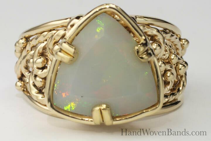 Triangular Opal in Custom Handmade Setting and Unique Swirl Ring
