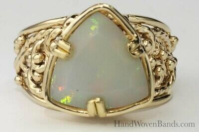Triangular Opal in Custom Handmade Setting