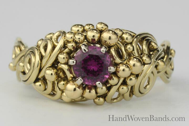 Purple Garnet Swirl/Braided Ring in 18k Yellow Gold