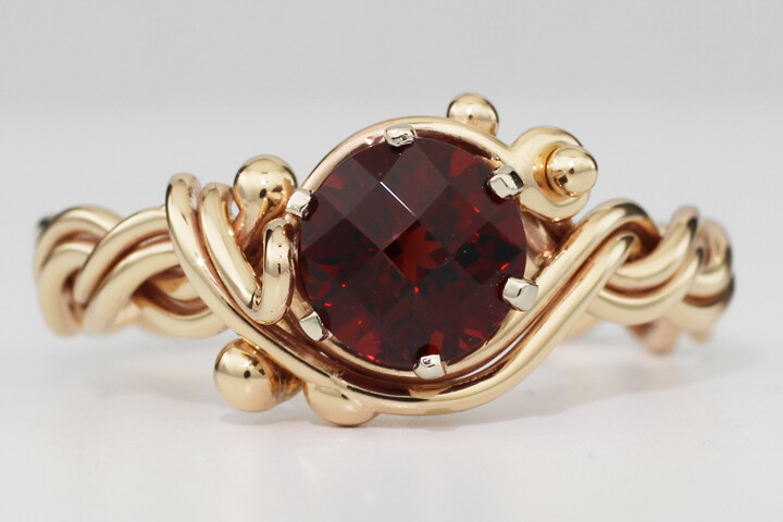 Checkerboard Garnet Ring Woven with our Four Strand Braid