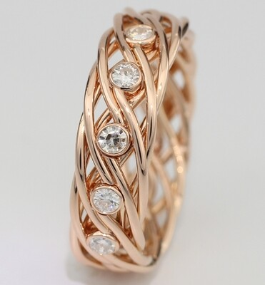 Eight Strand Ring made with 14k Rose Gold with 5 Diamonds