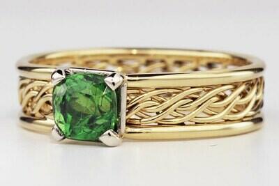 Custom Set Stone in Six Strand 18k Gold Ring