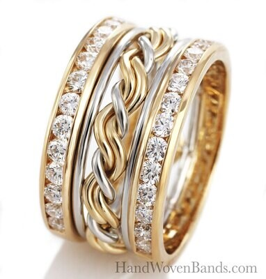 Cord of Three™ Ring with Diamond Outer Bands Two-Tone design