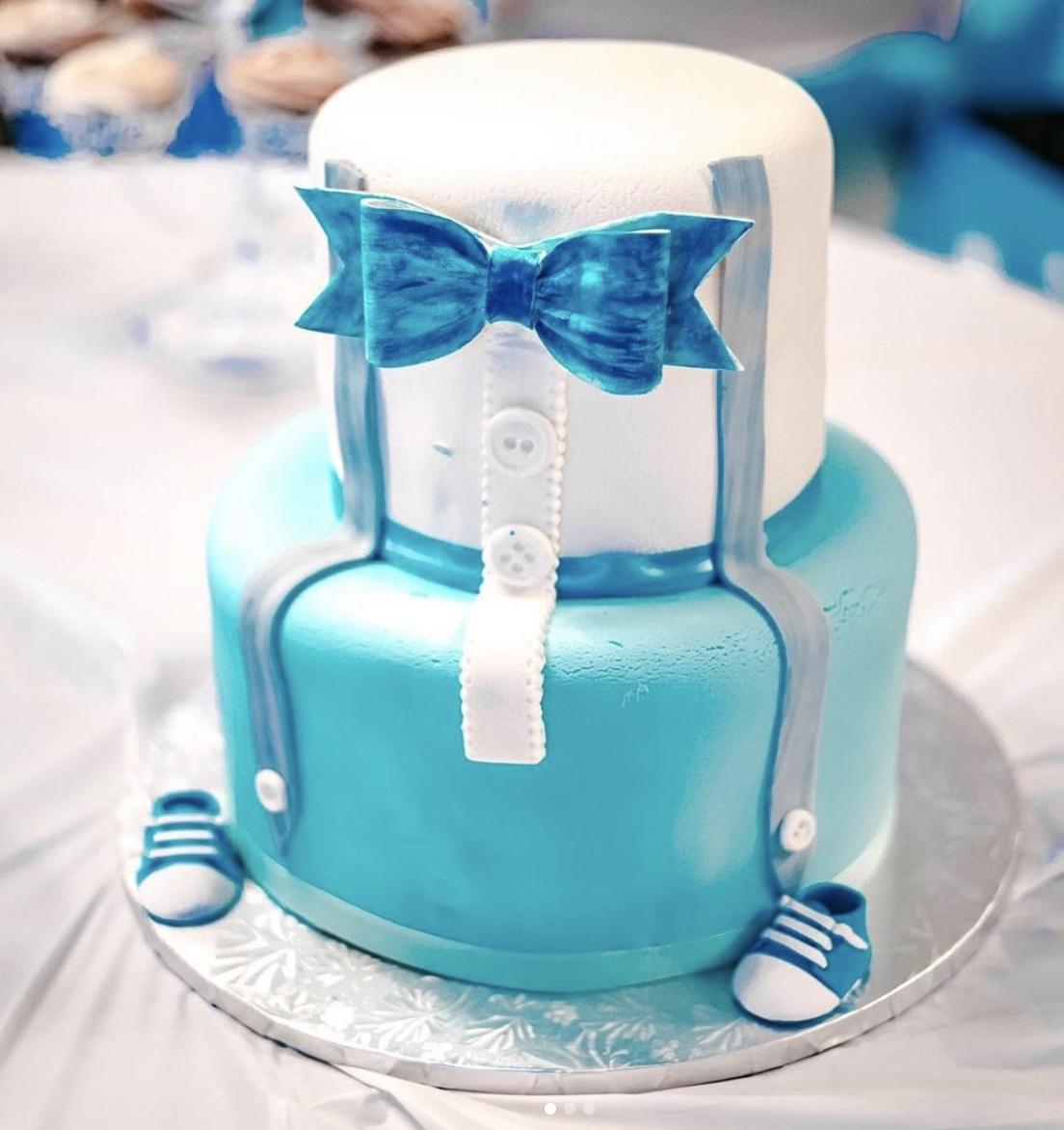 """Heaven Sent"" Baby Shower Cake (Blue or Pink)"