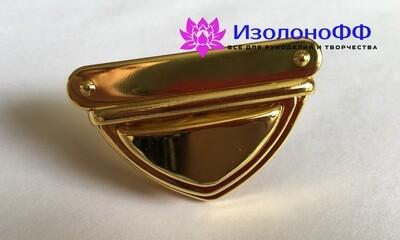Замок (застежка) для сумки 34*52мм, золото