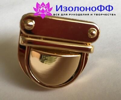 Замок (застежка) для сумки 30*30мм, золото