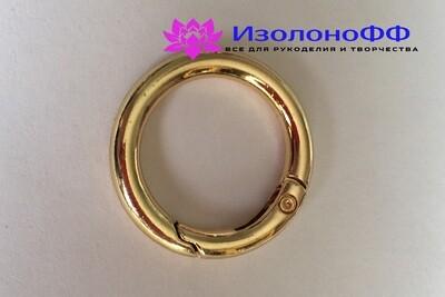 Кольцо-карабин 17мм, золото