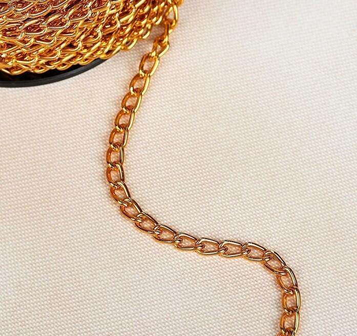Цепочка для сумки, 5*9,2мм, цвет золото(метр)