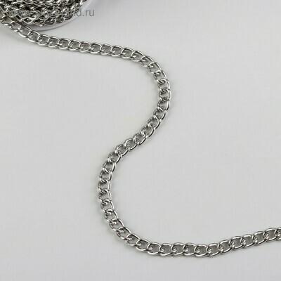 Цепочка для сумки, 6,2*8,8мм, цвет серебро(метр)