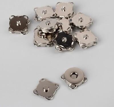 Кнопка магнитная пришивная, d=14мм, серебро