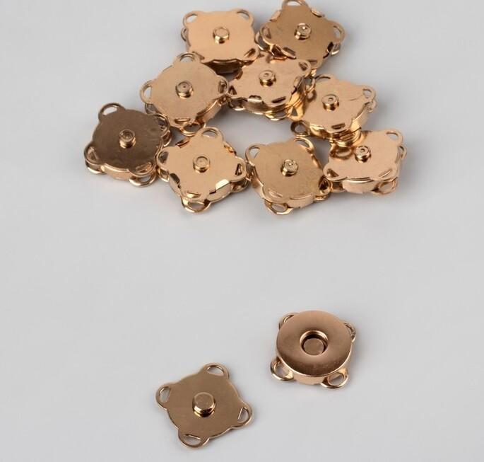 Кнопка магнитная пришивная, d=14мм, золото