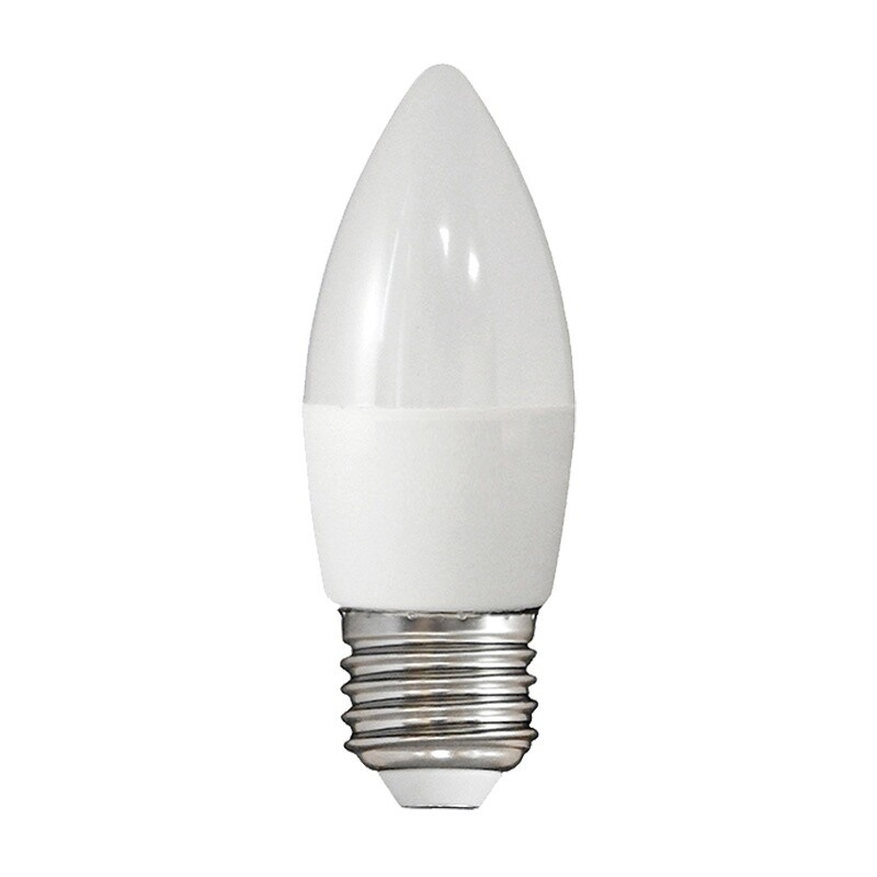 Лампа светодиодная LED E27, свеча, 6Вт, 230В, холодный белый свет