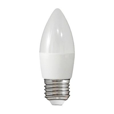 Лампа светодиодная LED E27, свеча, 8Вт, 230В, холодный белый свет