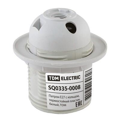 Патрон Е27 термостойкий пластик, разборный с прижимным кольцом, белый