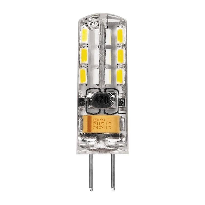 Лампа светодиодная (кукуруза) G4, 2Вт, 12В, 4000К, холодный белый свет, прозрачная